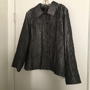 Lane Bryant Silver Quilted Look Jacket 14/16W